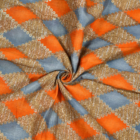 Beige Orange Ikat Banglori Silk Print Fabric-12815