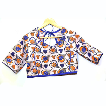 Beige-Orange and Blue Buddha Kalamkari Print Cotton Blouse-30065