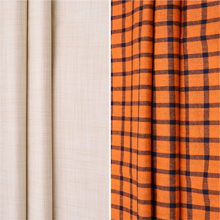 Combo Set Shirt and Trouser-Beige Orange and Blue-42157