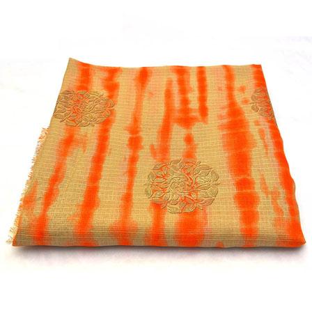 Beige-Orange and Golden Floral Design Kota Doria Fabric-25012