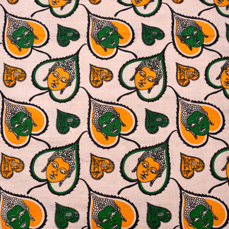 Beige-Orange and Green Buddha Shape Kalamkari Cotton Fabric-5579