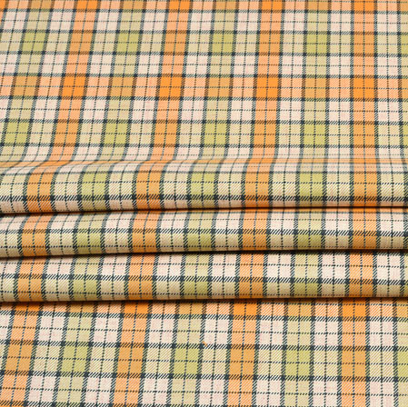 Beige Orange and Green Check Wool Fabric-90109