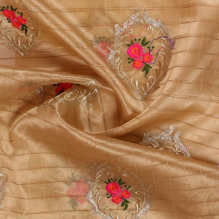 Beige Pink Embroidery Organza Silk Fabric-51624