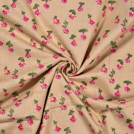 Beige Pink Flower Cotton Print Fabric-28368