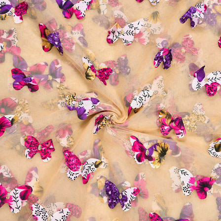 Beige Pink Net Butterfly Embroidery Fabric-18779