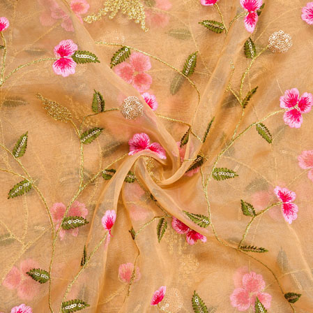 Beige Pink and Golden Floral Embroidery Organza Silk Fabric-22005