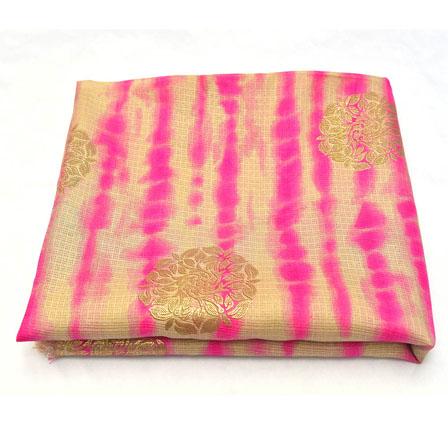Beige-Pink and Golden Floral Pattern Kota Doria Fabric-25001