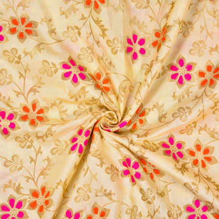 Beige Pink and Golden Floral Satin Brocade Silk Fabric-12698