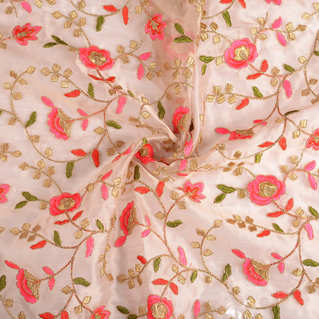 Beige-Pink and Golden Flower Organza Embroidery Fabric-51153