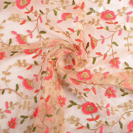 Beige-Pink and Golden Flower Organza Embroidery Fabric-51161