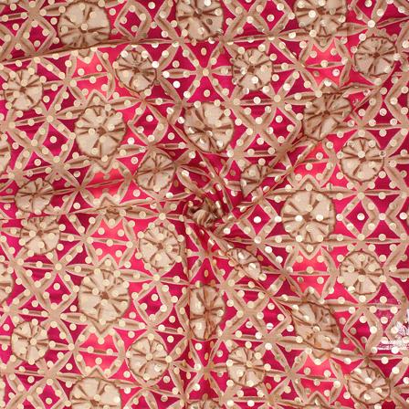 Beige-Pink and Golden Small Polka Design Brocade Silk Fabric-8334