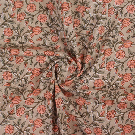 Beige Pink and Green Block Print Cotton Fabric-14846