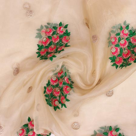 Beige Pink and Green Floral Embroidery Organza Silk Fabric-51686