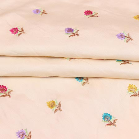 Beige Pink and Green Flower Chinnon Embroidery Fabric-29267