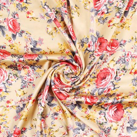 Beige Pink and Yellow Polka Japan Satin Fabric-18190