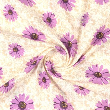 Beige Purple Block Print Cotton Fabric-16092