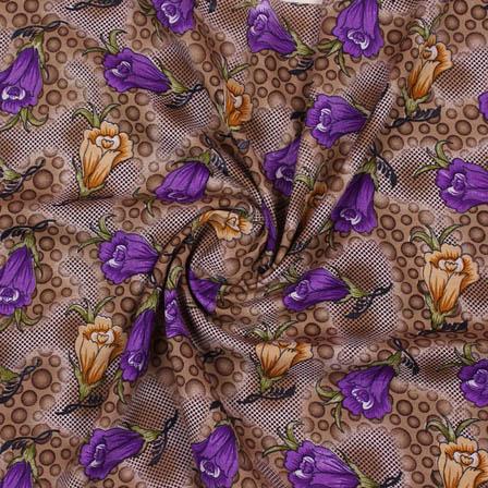 Beige Purple Flower Crepe Silk Fabric-18279