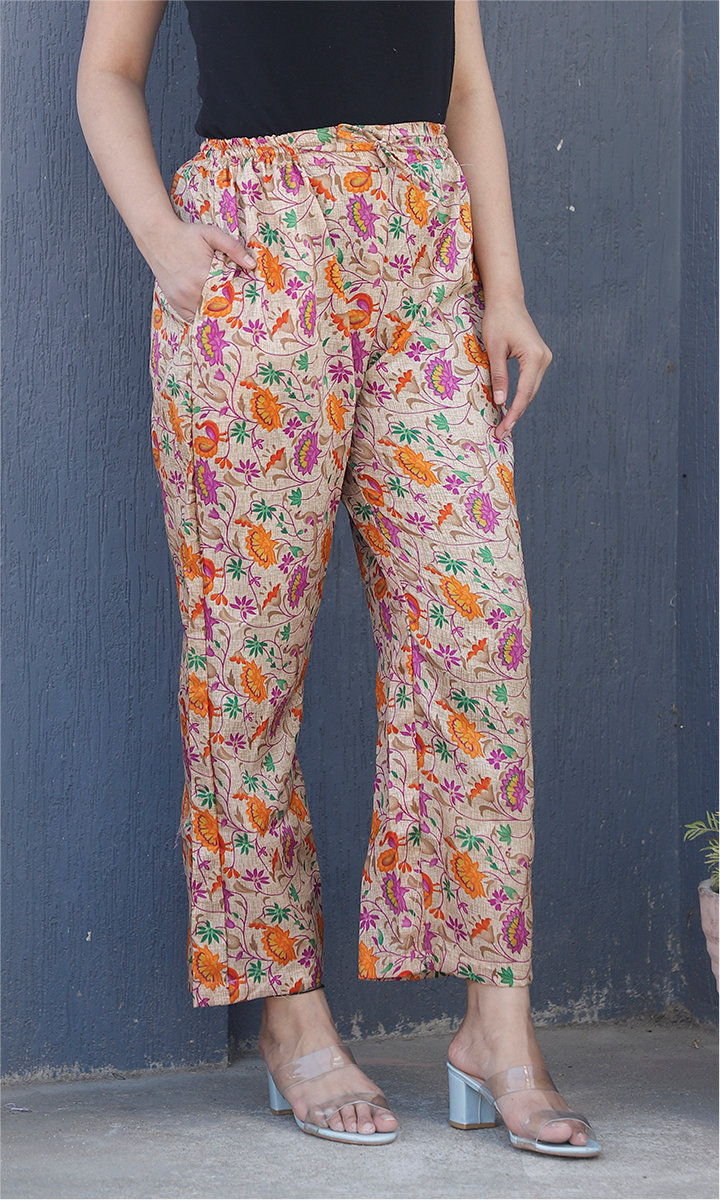 Beige Purple and Yellow Manipuri Silk Floral Palazzo Pant-34489