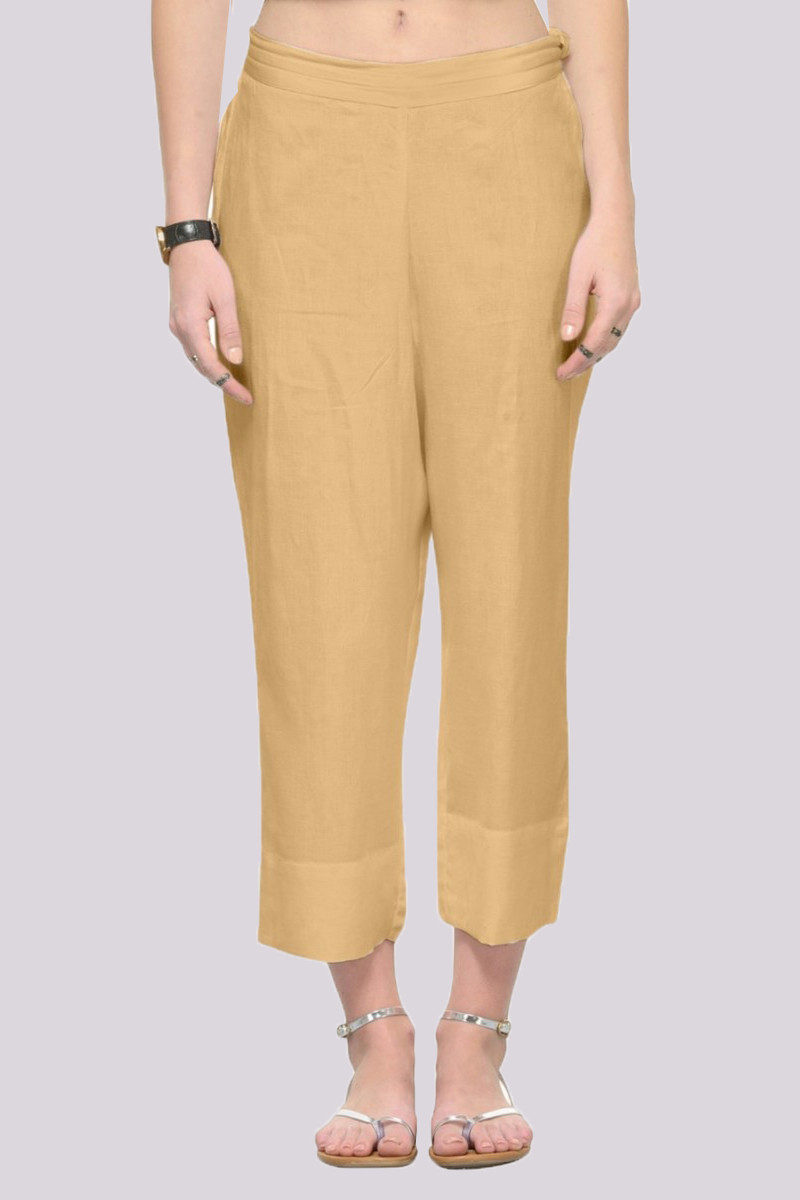 Beige Rayon Ankle Length Pant-33673