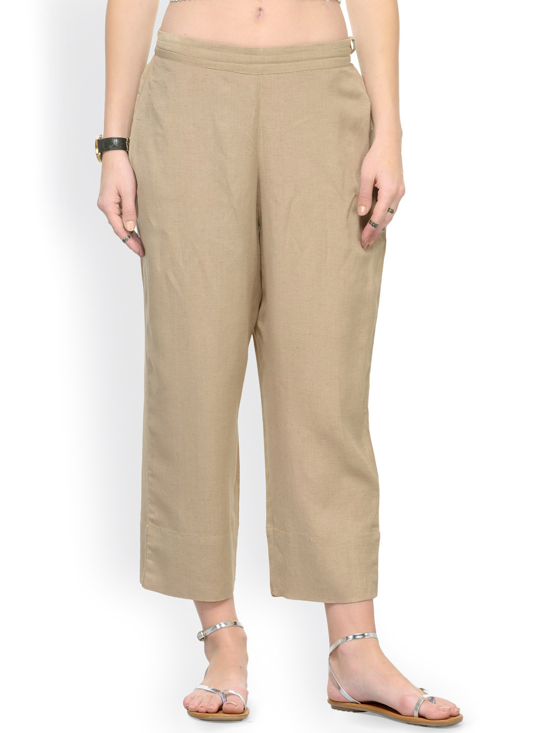 Beige Rayon Ankle Length Pant-33681
