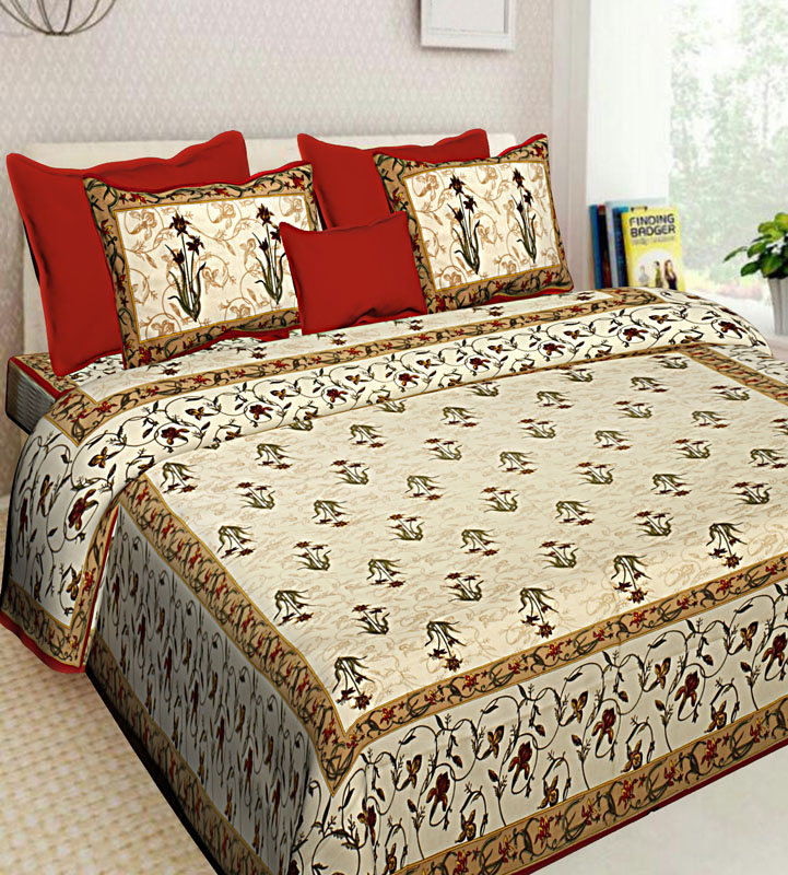 Beige Red Cotton Jaipuri Bedsheet-633