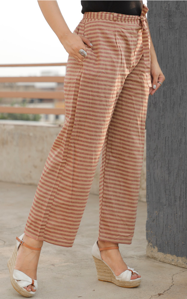 Beige Red Cotton Stripe Pant with Belt-33631