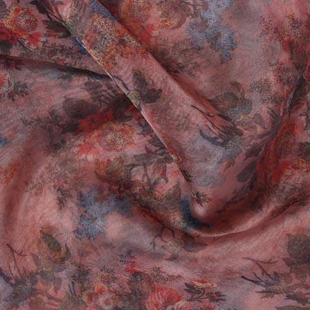 Beige Red Digital Organza Silk Fabric-51717