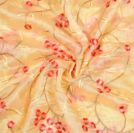 Beige Red Flower Organza Embroidery Fabric-22250