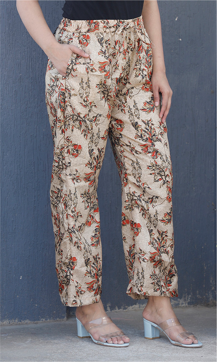 Beige Red Manipuri Silk Floral Palazzo Pant-34487