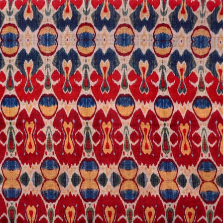 Beige-Red and Blue Unique Shape Digital Print Silk Fabric-5635
