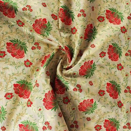 Beige Red and Golden Floral Banarasi Silk Fabric-9403