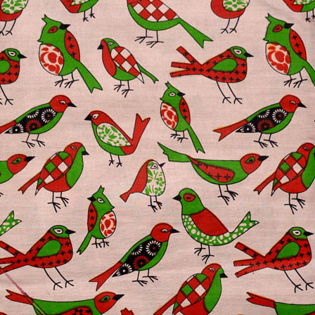 Beige-Red and Green Bird Pattern Kalamkari Cotton Fabric-5596