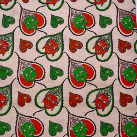 Beige-Red and Green Buddha Pattern Kalamkari Cotton Fabric-5573