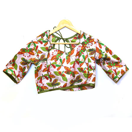 Beige-Red and Green Butterfly Kalamkari Print Cotton Blouse-30058