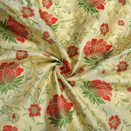 Beige Red and Green Floral Banarasi Silk Fabric-12190