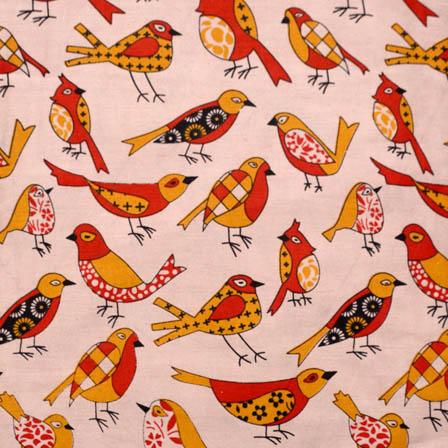 Beige-Red and Yellow Bird Pattern Kalamkari Cotton Fabric-5598