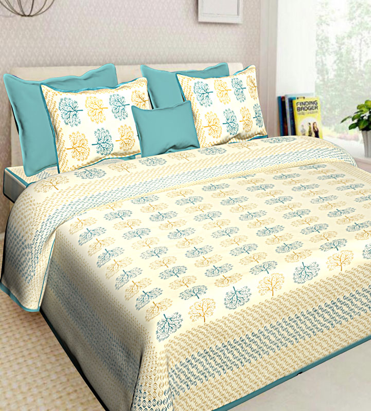 Beige Sea Green Cotton Jaipuri Bedsheet-579