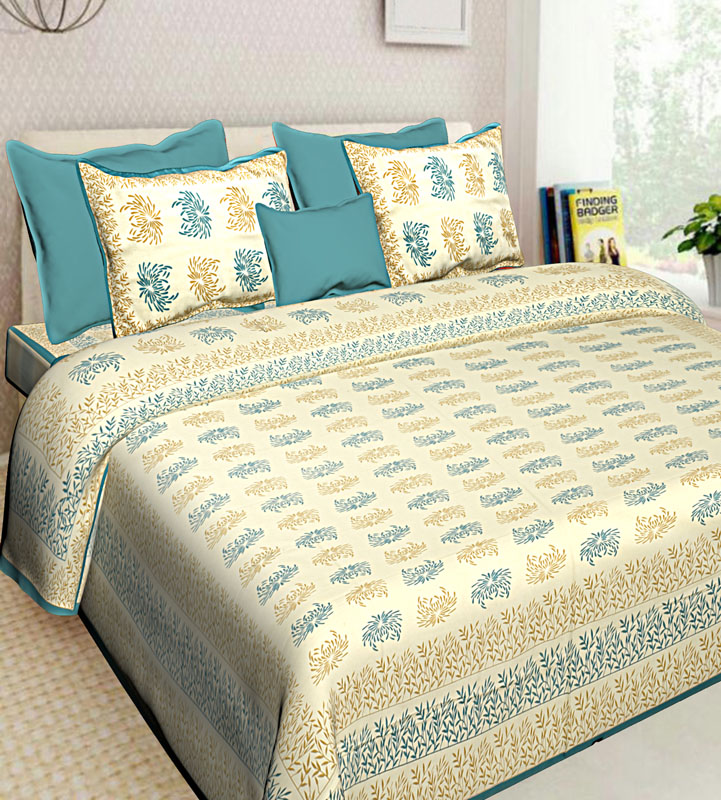Beige Sea Green Cotton Jaipuri Bedsheet-649