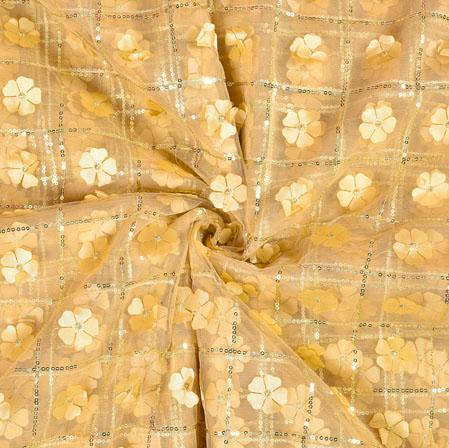 Beige Silver Floral Net Applique Fabric-19245