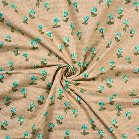 Beige SkyBlue Flower Cotton Print Fabric-28369