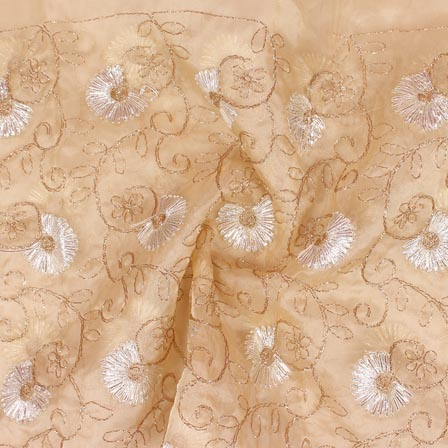 Beige White Floral Embroidery Organza Silk Fabric-51678