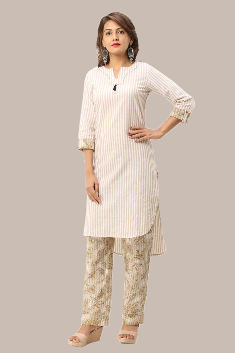 Kurta Pant Set-Beige White Handloom Cotton Kurta Stripe Pant Set-33735