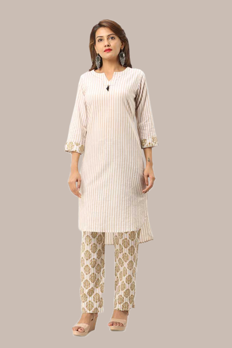 Kurta Pant Set-Beige White Handloom Cotton Kurta Stripe Pant Set-33736