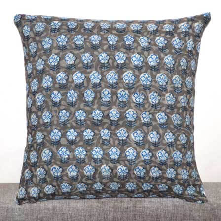 Beige White and Blue Flower Kashish Hand Block Printed Cotton Cushion Cover