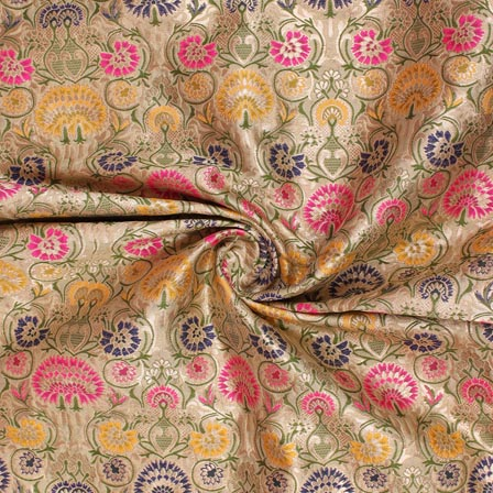 Beige Yellow Blue and Pink Floral Banarasi Silk Fabric-9312