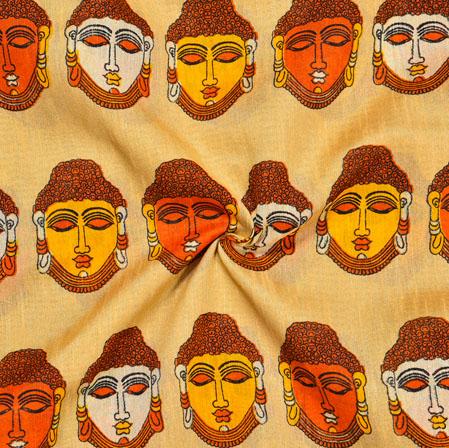 Beige Yellow Budha Print Manipuri-Silk Fabric-18026