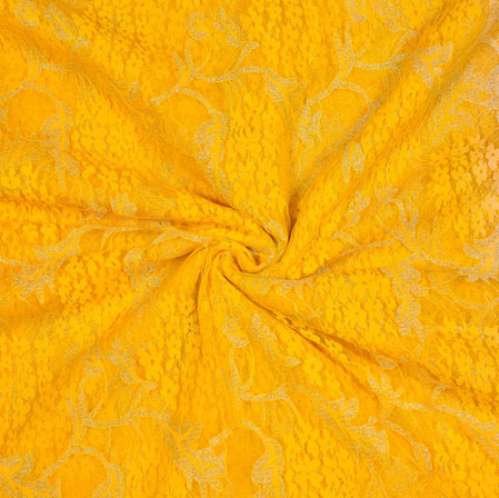 Beige Yellow Floral Net Fabric-18995