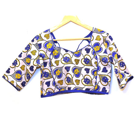Beige-Yellow and Blue Buddha Kalamkari Print Cotton Blouse-30063