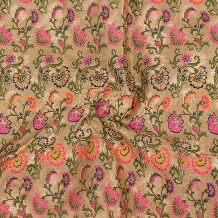 Beige Yellow and Green Floral Digital Banarasi Silk Fabric-9227