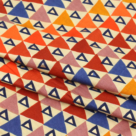 Beige Yellow and Red Triangle Jam Cotton Fabric-15261